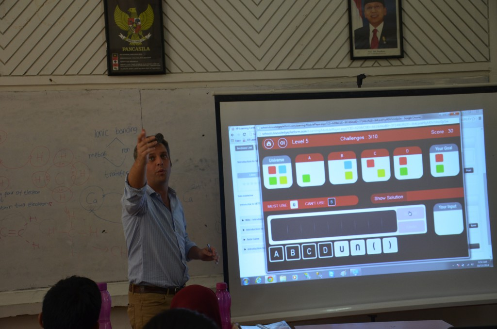 Juan Figar COO at Knowledge Platform leads a Sets game at a school in Indonesia